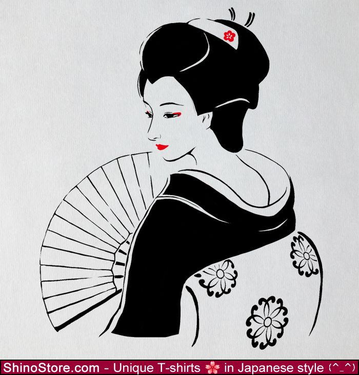 Geisha Japan T-shirt - Size for men and women, handmade, Japanese cloth quality