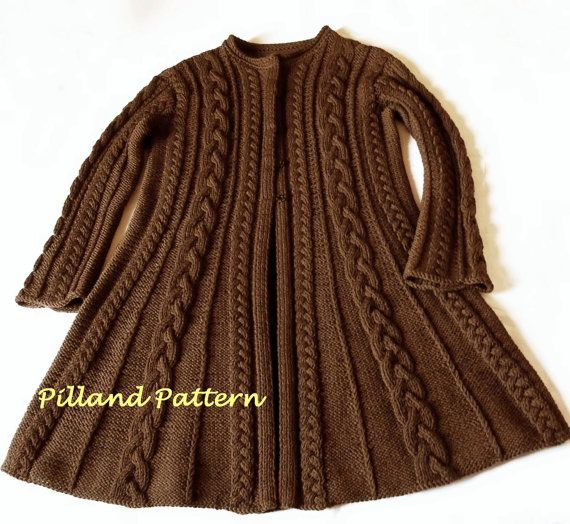Womens coat pattern Cable Knit Womens Sweater by PillandPattern