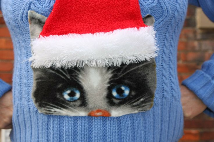 CREEPY CAT Ugly Christmas Sweater on ANY Size by ElvesGoneWild