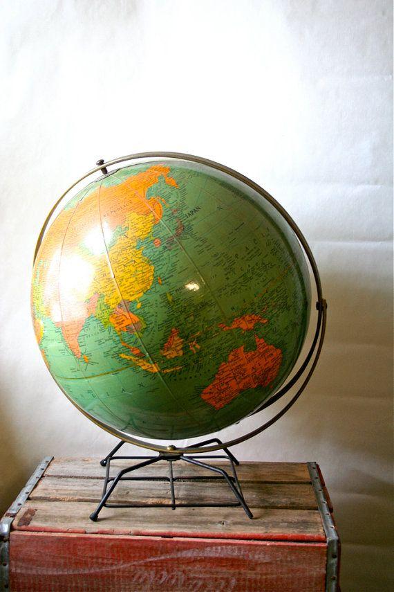 Antique Replogle Library Globe 1950s 210 best