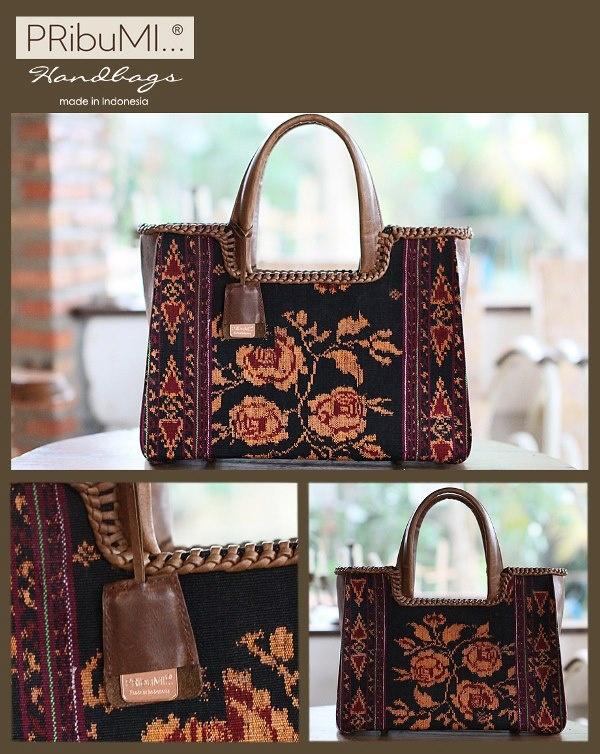 PUTRI Tote Bag / Elegant Series / Seral # 1331763F / Tenun Maumere Baru / Antique Italian Premium Genuine Cow Leather / 9 October 2012 / by Arini Prana Bali Art - asked by Lala