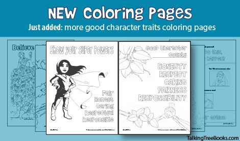 just added! More free coloring pages that teach kids about good character traits.