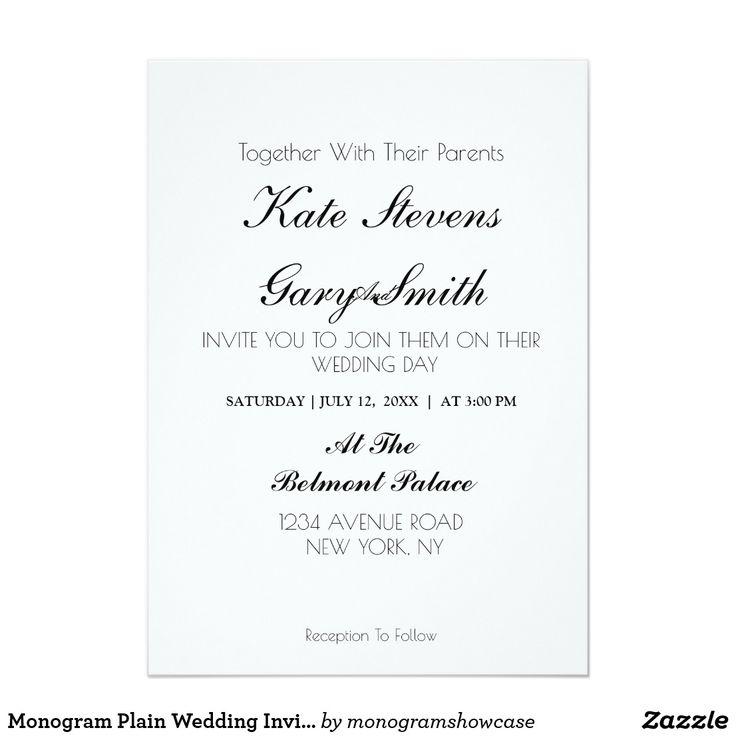 Monogram plain wedding invitation