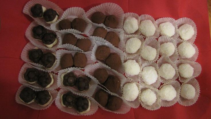 Chocolate bonbons, mascarpone-coconut bites