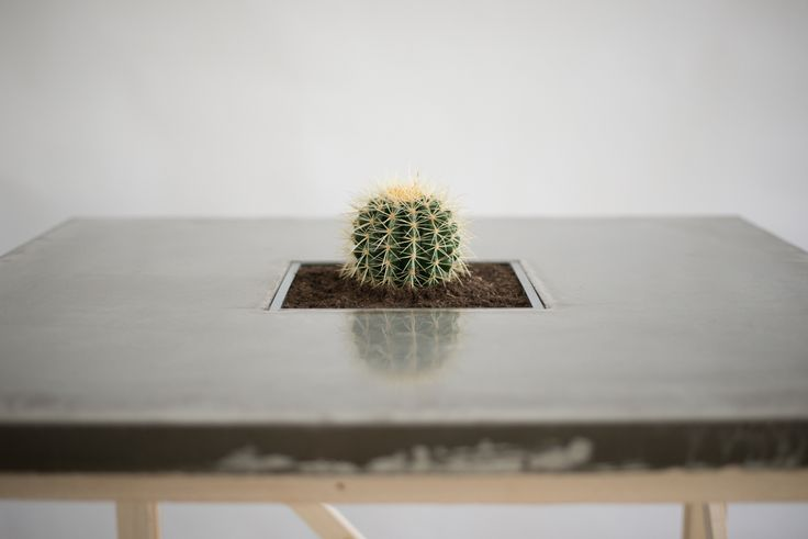 concrete table with resin coating