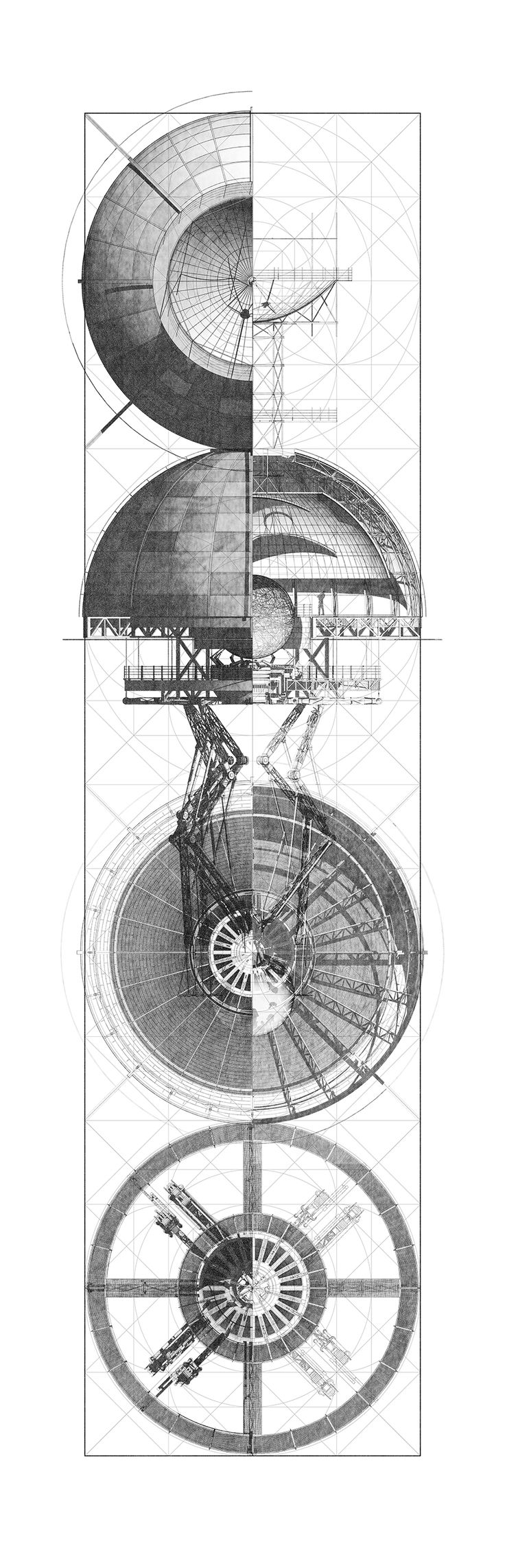 Orthographic depictions of Scaling action :: Student: Benjamin Ruswick - University: Harvard Graduate School of Design, Location: Cambridge, Massachusetts, United States. [ Thesis ] M.Arch // C.A. Denari's Inverted Observatory