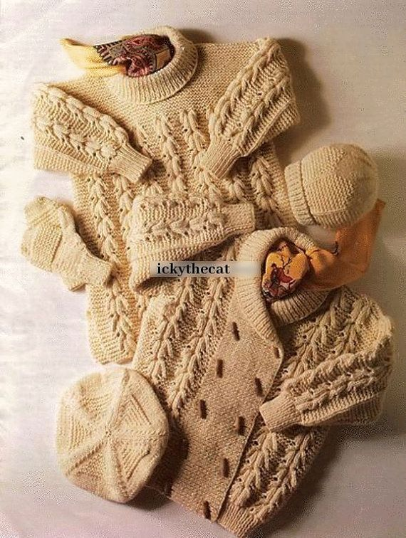 Instant PDF Download Vintage Row by Row Knitting Pattern to make A Baby Toddlers Aran Jacket Long Sweater Mittens Beret & Hat Chest 24-30""