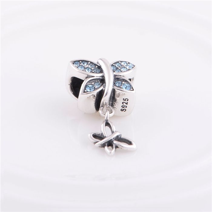 Sterling Silver 925 Fits Chamilia Charms Bracelet Crystals Butterfly Thread Charm Beads European Style Women DIYJewelry