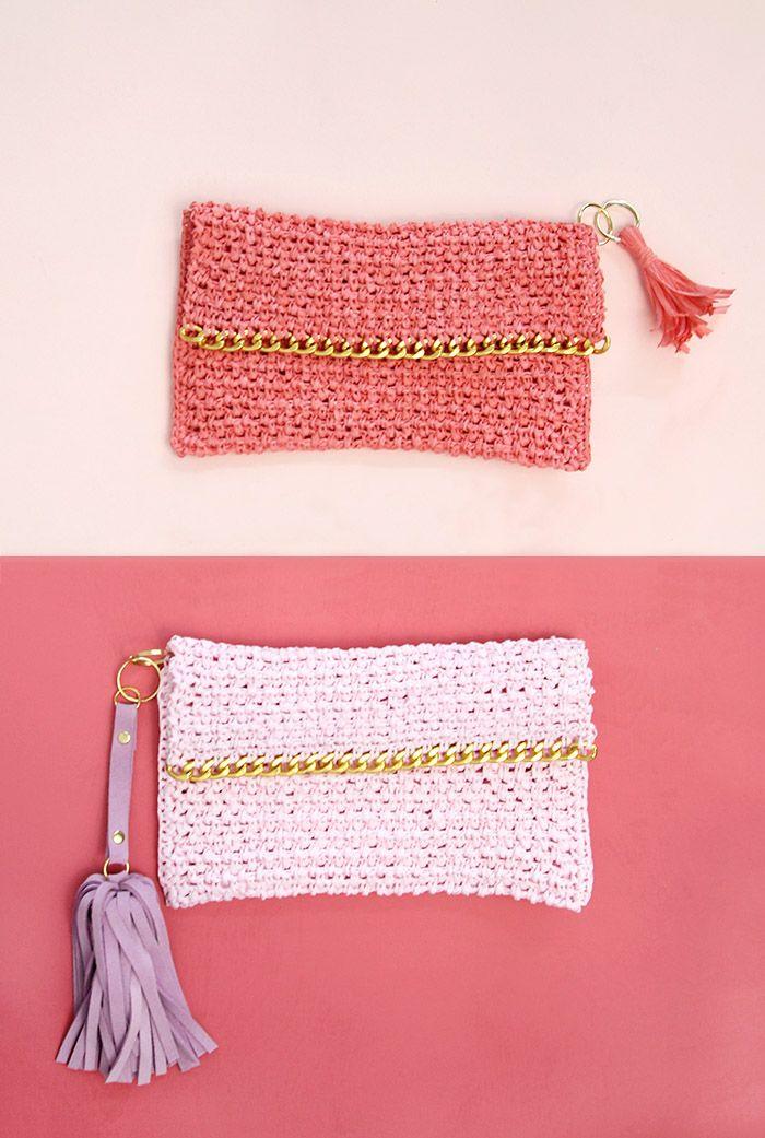 DIY: chain edge raffia crochet clutch