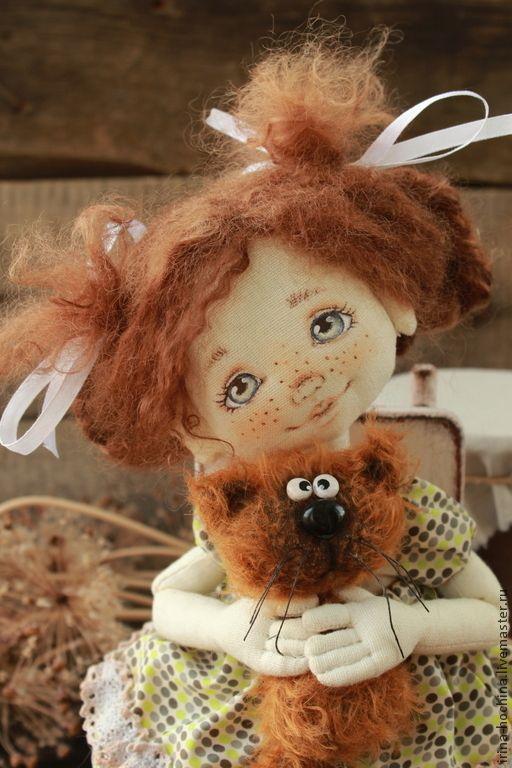 Человечки ручной работы. Ярмарка Мастеров - ручная работа. Купить Маруся и Мурзик. Handmade. Коричневый, кукла текстильная, кукла-девочка