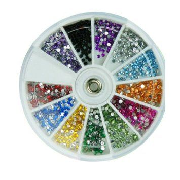 12 color Nail Art Design 3D Tips Decoration Round Rhinestone Glitter Wheel 2.0mm: Amazon.co.uk: Beauty  These are great just plain dots you can do allsorts with them. This seems a bit on the expensive side so I'll see if cheaper ones are available... x x x