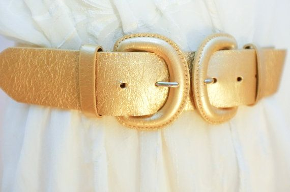 Rare Vintage gold Wide belt with double by VintageVanillaShop