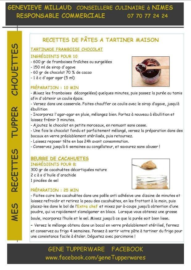 Pate à tartiner maison chocolat framboise - beurre de cacahuètes - Tupperware