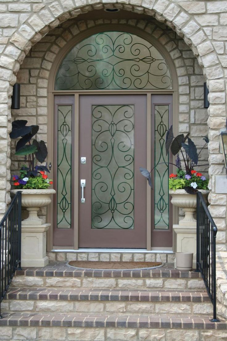 Sweet Brown Wood Lighted Masonite Exterior Entry Doors