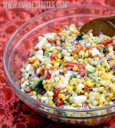 Salad with corn, sweet red peppers, jalapenos, queso fresco, avocado, and a tangy lime-cilantro vinaigrette via Amelia