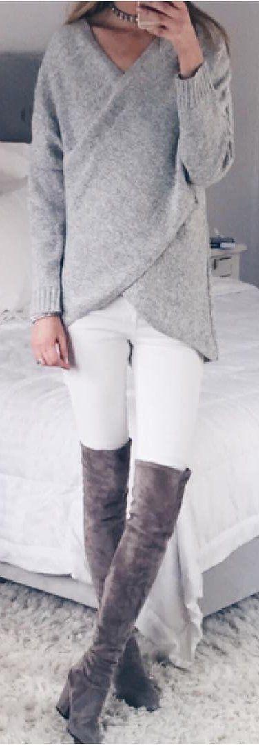 #winter #fashion /  Grey Knit / White Skinny Jeans / Dark OTK Boots