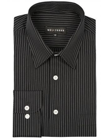 Czarna koszula męska Wólczanka z charakterystycznymi białymi paskami.