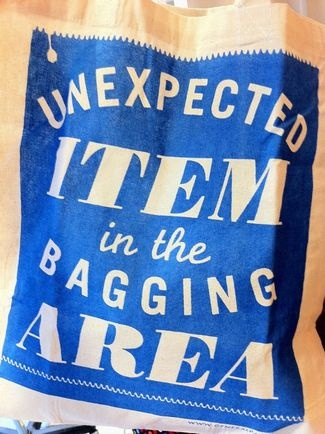 cotton shopping tote: Unexpected item in the bagging area :)