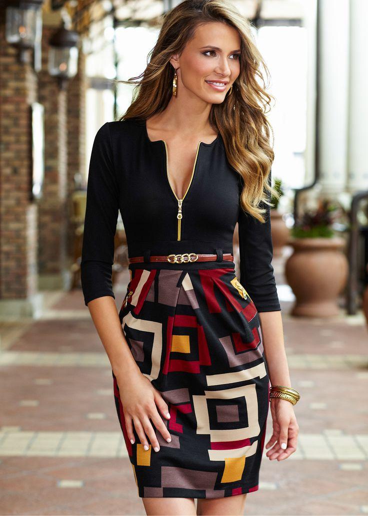 Vestido com saia estampada preto encomendar agora na loja on-line bonprix.de  R$ 149,00 a partir de Vestido com saia estampada e conto em couro sintético.
