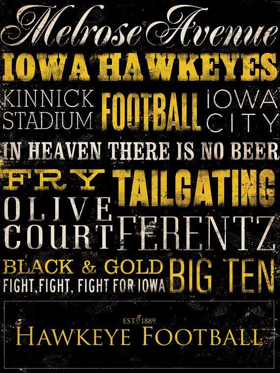 Iowa Hawkeyes football typography graphic art on by geministudio
