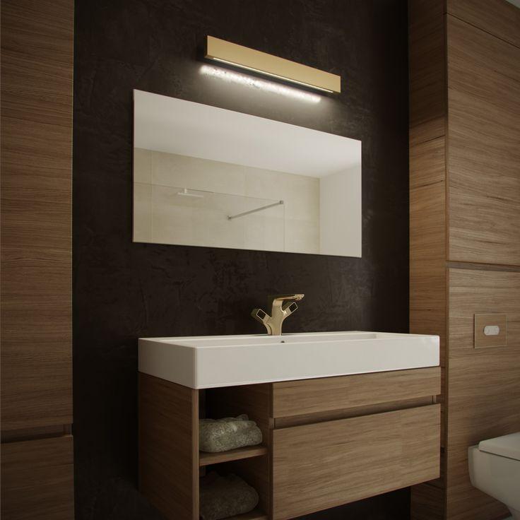 Kinkiet łazienkowy nad lustro seria Aurora Satina. Oksydowany mosiądz i wysokiej klasy moduł LED. Klasa szczelności IP44.