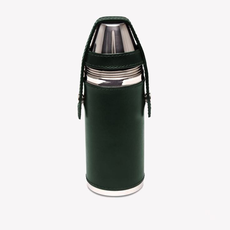 Ettinger London – Luxury Leather Goods –  Lifestyle Hunter Flask with 4 Cups in Green