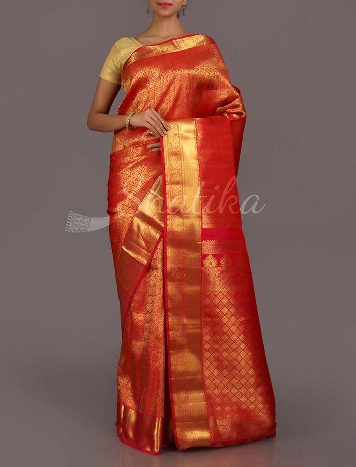 Sridevi Ravishing Red Gold Real Zari #DharmavaramSilkSaree