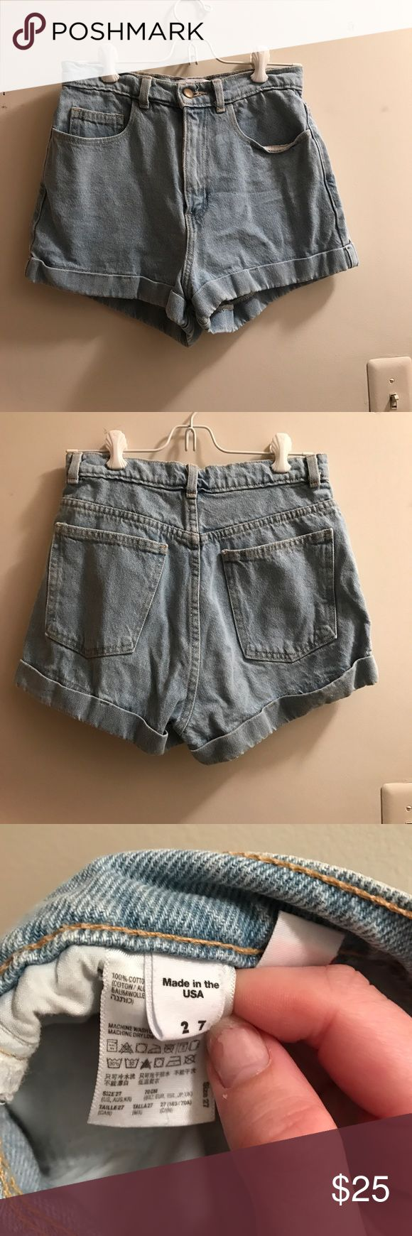 American Apparel Jean Shorts AA jean shorts, very flattering, high waisted mom style!! American Apparel Shorts Jean Shorts