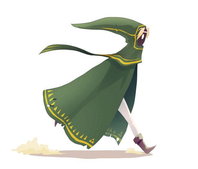 """A Link to the Journey by Haley (Art-Zealot, USA) """"Little Link-Cloak. On a Journey to the sacred Mountain of Time. Just run with it... Photoshop CS4, Wacom Intuos 3 , 1 hour"""" {digital, 2013}"""