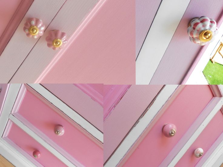 Pretty ceramic knobs added to doors and draws