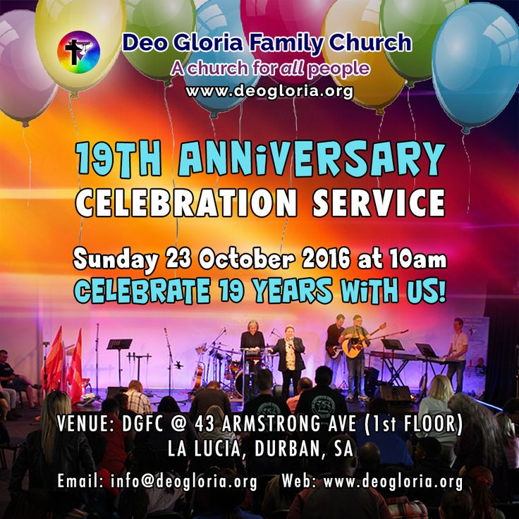 Apostle Deborah Bell invites YOU to our celebration of 19 years of DGFC on Sunday 23 October @ 10am, as we give glory to God for all the Lord has done in our midst. Bring your friends and family!  For any enquiries, please contact us on info@deogloria.org or call Pastor Ti on 0826985332  Venue: 43 Armstrong Ave (1st Floor), La Lucia, Durban, SA #allpeople #gaychristian #gaychurch #lgbt #durban #churchtime #gay #birthday #celebration #anniversary