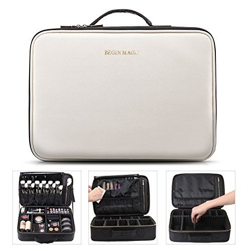 BEGIN MAGIC Portable Makeup Train Case / Travel Makeup Bag / Medium Cosmetic Organizer Case with PU Leather (black / white). For product & price info go to:  https://beautyworld.today/products/begin-magic-portable-makeup-train-case-travel-makeup-bag-medium-cosmetic-organizer-case-with-pu-leather-black-white/