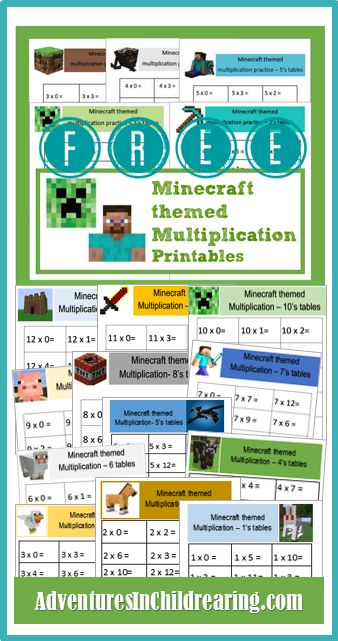 FREE Minecraft Multiplication drill sheets - print and use to do fun, timed multiplication drills.