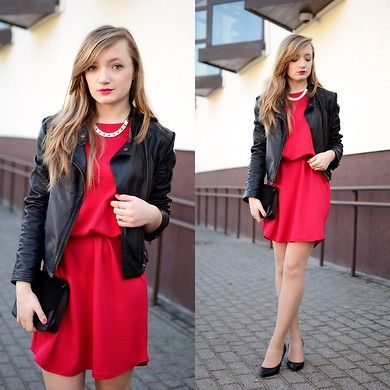 Little Red Dress and black leather jacket  #LRD