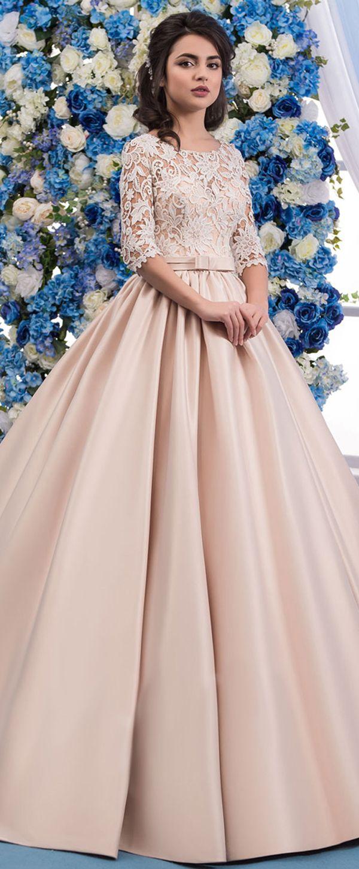 Modest Lace & Satin Jewel Neckline A-line Wedding Dress With Beadings & Belt