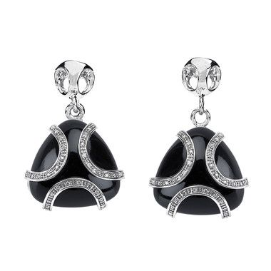Triadra Argento Collection by Di Modolo, Onyx and Diamond Drop Earrings, in Sterling Silver