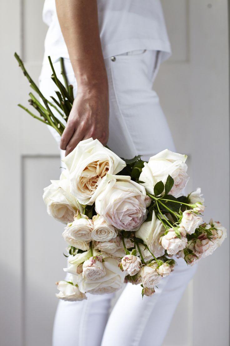 all white + roses