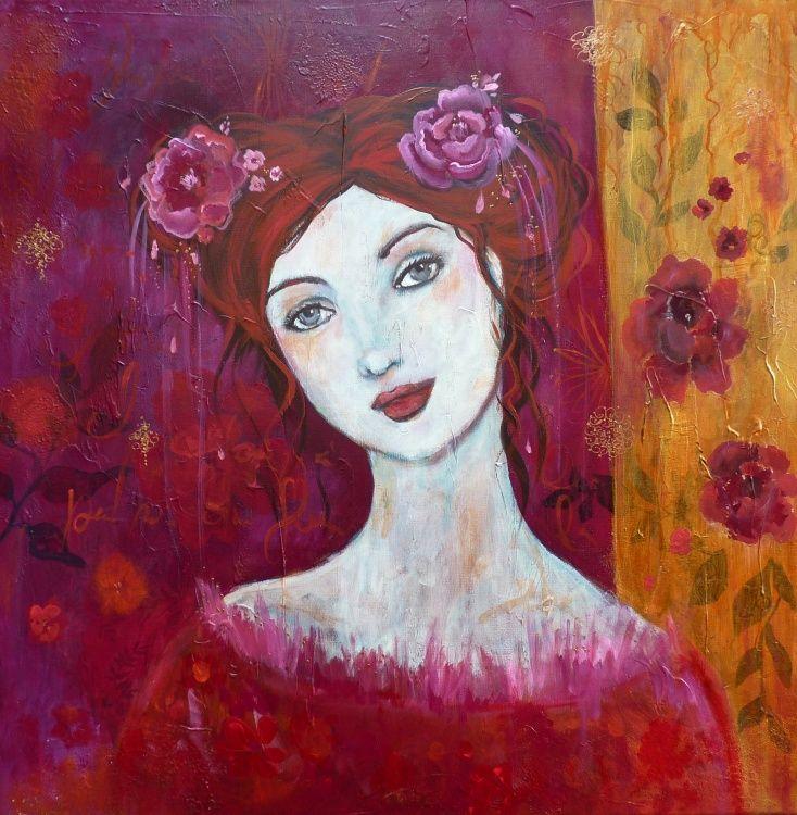 Portrait de femme grand format 80x80cm acrylique sur toile . Portrait poétique et romantique fond fleuri et calligraphié.