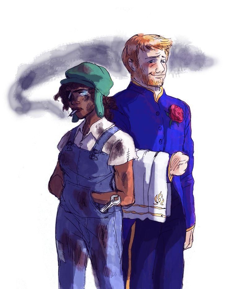 """shinobisdelombre: """"Gaëlle et Renard J'imagine bien Gaëlle avec la peau noire Renard porte l'uniforme des valets. / I made Gaëlle black, I thought it suited her :) Renard is wearing the valet uniform. """""""