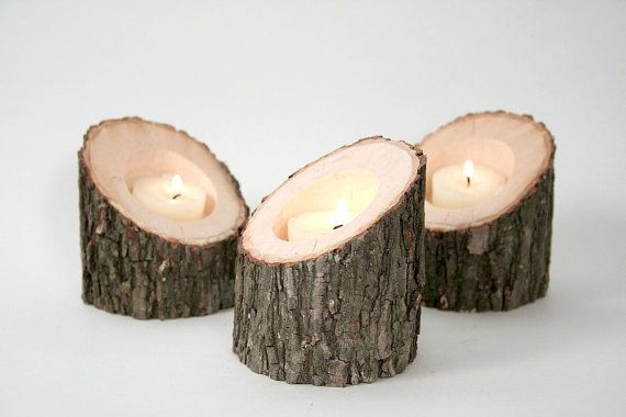 Tree Branch Candle Holders III Rustic Wood by WorleysLighting, $18.50 Why not make them?: Branches Candles, Candles Holders Wedding, Trees Branches, Rustic Woods, Wooden Candles, Candle Holders Wedding, Wedding Centerpieces, Trees Slices, Woods Candles Holders