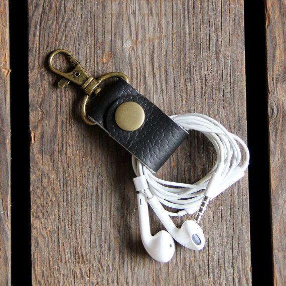 Cuero negro cable Keeper auriculares envoltura por piprobins