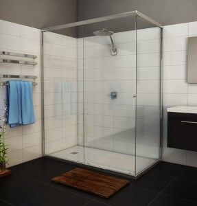 Momentum-semi-frameless shower screen