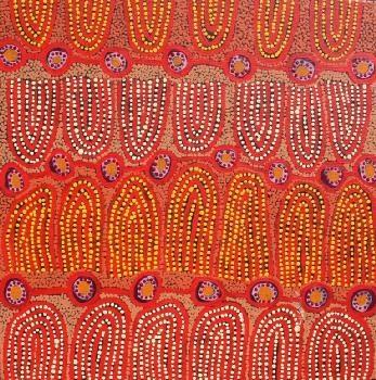 Judith Chambers - 50,8x50,8cm - Parrot Men Dreaming, 2012 / IDAIA - International Development for Australian Indigenous Art