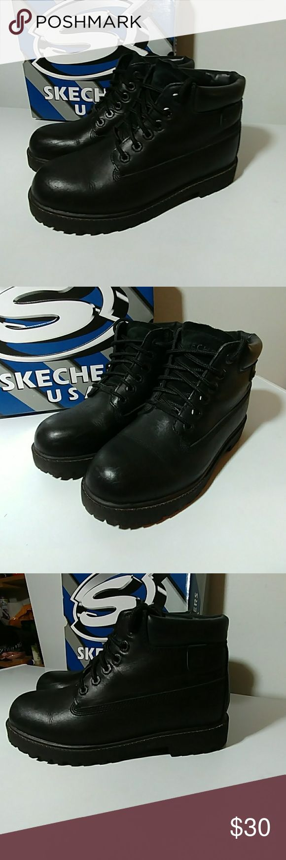 🎩Men's SKECHERS Black Boots. Up for grabs is this practically new pair of men's size 8.5 black Skechers boots. I really can't say enough how in fabulous condition that these boots really are. These are lace-up boots they are waterproof and they come with the Box. Skechers Shoes Boots