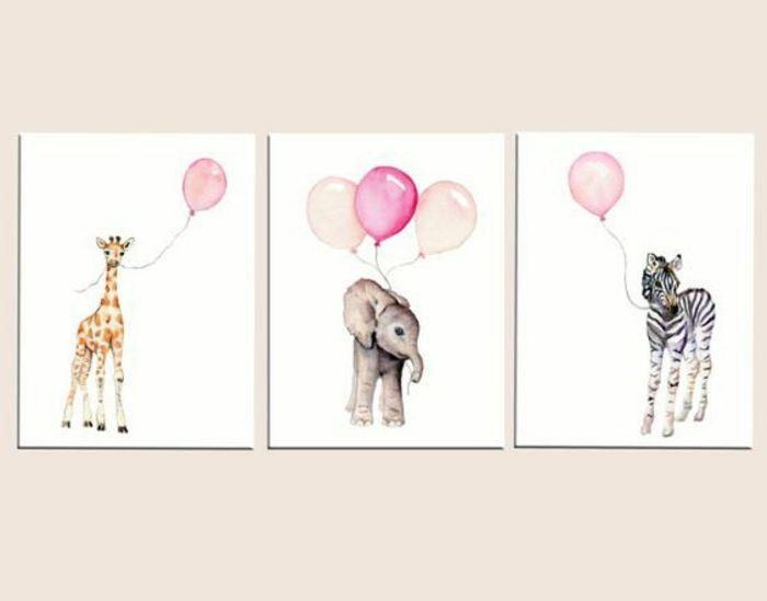 Lovely babyzimmer gestalten wanddeko f r das kinderzimmer m dchen giraffe elefant zebra mit balloons bunte bilder