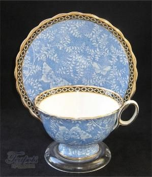 Blue and Gold Tea Cup Saucer by lesa