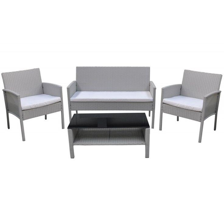 Vito 4pieces garden seating group steel wicker white cream