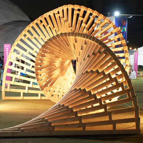 Twisting wooded structure from Tokyo Designers Week 2013