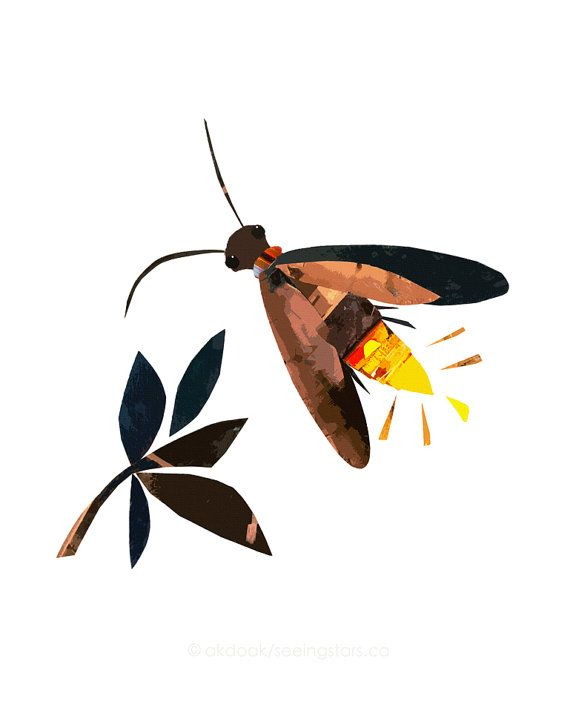 Firefly / Lightning Bug  8.5 x 11 Print of an Original Collage on Etsy, $20.00