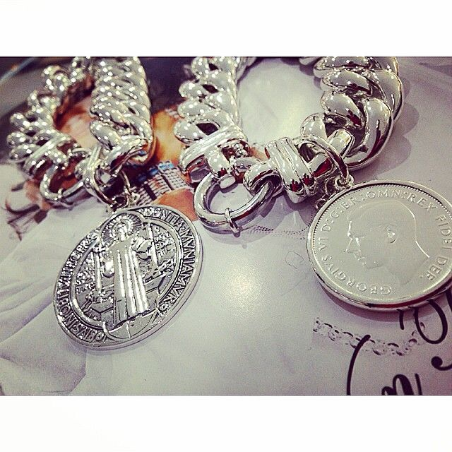 """""""In Love ❤️ @vontreskow Big mama bolt bracelets with large St Benedict Coin and Florin coin #vontreskow Silverwolf Jewellery"""""""